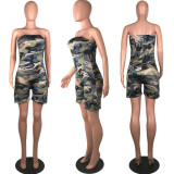 Camoouflage Printed Strapless Bodycon Palysuits MUM-5009