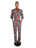 Sexy Stripe Floral Print V Neck Jumpsuits QY-5005