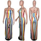 Rainbow Stripe Halter Wide Leg Jumpsuits MUM-5001