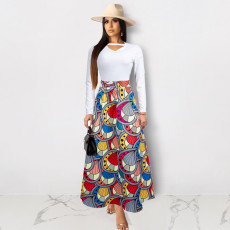 Trendy Printed High Waist Long Maxi Skirt PN-6275