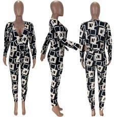 Geometric Print V Neck Long Sleeves Jumpsuits MN-9222