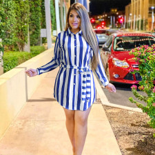 Casual Striped Turndown Collar Sashes Shirt Dress PN-6305
