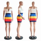 Colorful Stripe Off Shoulder V Neck Bodycon Mini Dress PN-6300
