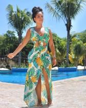 Pineapple Print Sleeveless Irregular Bohemia Maxi Dress PN-6047