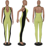 Contrast Color Halter Backless Bodycon Jumpsuit PN-6197