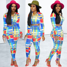 Colorful Plaid Zipper Long Sleeve Two Piece Suits PN-6108