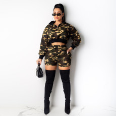 Camouflage Print Long Sleeve Two Piece Shorts Set PN-6282