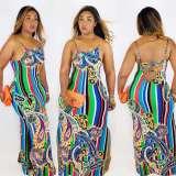Sexy Printed Spaghetti Strap Backless Split Maxi Dress NM-8019
