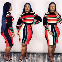 Colored Stripe Long Sleeve Bodycon Dresses SMD-1001