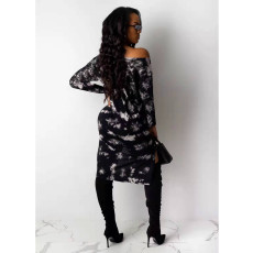 Sexy Printed Oblique Shoulder Split Midi Dress NM-8076