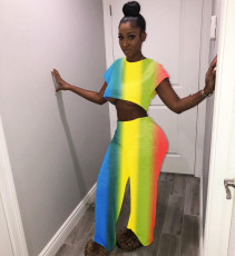 Rainbow Color Wide Leg Pants Two Piece Suits LSL-6156
