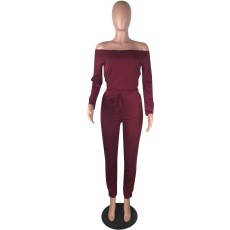 Solid Slash Neck Long Sleeve Bodycon Jumpsuits YN-9029