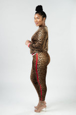Leopard Print Long Sleeve Two Piece Outfits JH-135