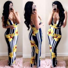 Floral Print Spaghetti Strap Backless Wide Leg Jumpsuit YMT-6010