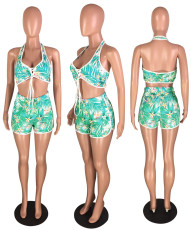 Sexy Printed Halter Crop Top And Shorts 2 Piece Sets YMT-6025