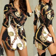 Chain Print Turndown Collar Irregular Shirt Dresses BER-1822