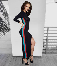 Red Blue Stripe Patchwork Irregular Slim Maxi Dress LSL-6043