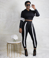 Black White Patchwork Tracksuit Two Piece Pants Suits YN-031