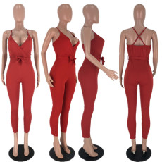 Solid V Neck Cross Strap Backless Bodycon Jumpsuits AWN-5011