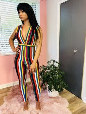 Colorful Stripe Deep V Neck Sleeveless Jumpsuits JH-019