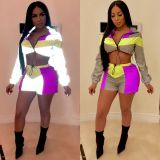 Plus Size Tracksuit Patchwork Reflective 2 Piece Shorts Sets JH-079