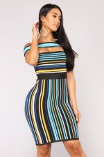 Sexy Stripe Off Shoulder Bodycon Dress JH-004