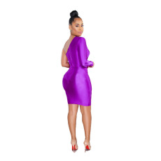 Sexy One Shouder High Waist Bodycon Mini Dress BS-1038
