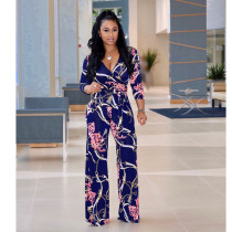 Sexy Printed V Neck Long Sleeve One Piece Jumpsuit NK-8228