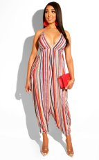 Colorful Stripe Halter Backless Wide Leg Jumpsuit BS-1029