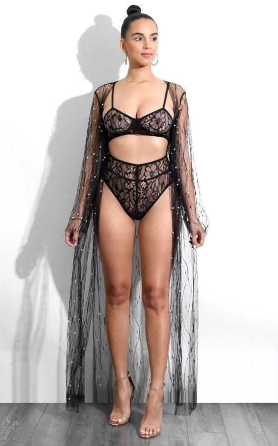 Sexy Mesh See Though Beading Long Cloak FNN-8073