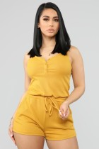 Solid Sleeveless Elastic Waist One Piece Rompers BS-1051