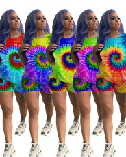 Plus Size Tie Dye Print Two Piece Shorts Set LQ-5047-2