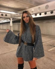Geometric Print Turtleneck Long Sleeve Loose Dress BS-1014