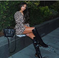 Leopard Print Flare Sleeve Loose Mini Dress Without Belt BS-1011