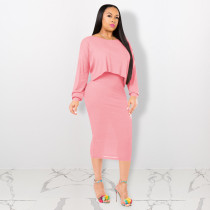 Solid Batwing Sleeve Top And Tank Dress 2 Piece Sets TE-3895