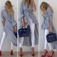 Trendy Stripe V Neck High Low Hem Irregular Tops ASL-6078