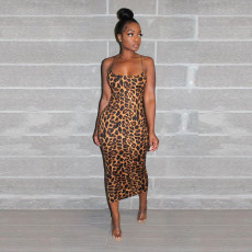 Sexy Leopard Print Spaghetti Strap Long Dress SH-3631