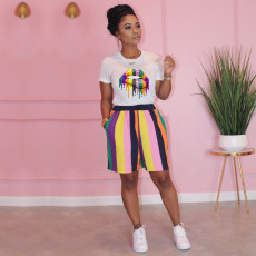 Lips Stripe Print T Shirt And Shorts 2 Piece Sets TE-3997