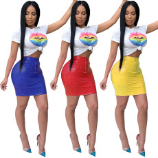 Trendy T Shirt And PU Leather Skirt Two Piece Suit TE-3475