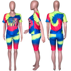Tie Dye Print Short Sleeve Two Piece Shorts Sets CH-8052