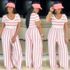 Plus Size Striped Short Sleeve Wide Leg Jumpsuits PIN-8395