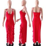 Red Ruffled High Split Spaghetti Strap Long Dress YD-8005