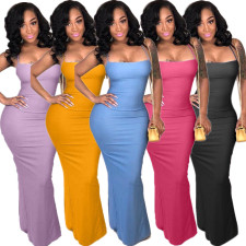 Plus Size Sexy Criss Cross Strap Backless Split Maxi Dress LDS-3037