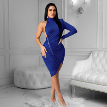 Sexy One Shoulder Backless Bodycon Dresses MN-9230
