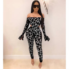 Sexy Off Shoulder Two Piece Pant Set NM-8098