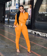 Solid Color Casual Tracksuit Two Piece Set ARM-8028-2