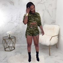Camo Short Sleeve Two Piece Shorts Set SMR-9571
