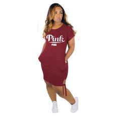 Pink Letter Print Mini Dress MTY-6270