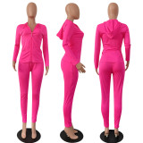 Solid Tracksuit Hooded Zipper Two Piece Pant Sets OFN-6303