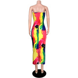 Sexy Hollow Out Print Long Dress ASL-6237